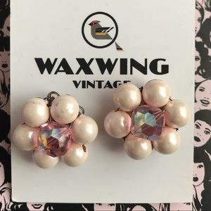 Vintage pink cluster beaded earrings